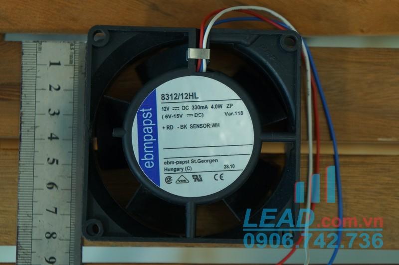 Quạt hút EBM-PAPST 8312/12HL, 12VDC, 80x80x32mm